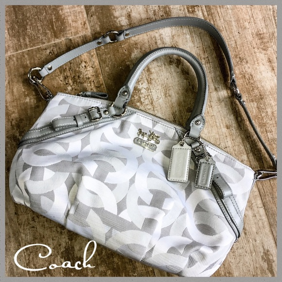 Coach Handbags - Coach Silver/Gray Signature Shoulder Bag